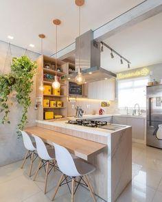 American Kitchen Interior, American Kitchen Design, Kitchen Tiles Design, Modern Kitchen Design, Interior Design Kitchen, Kitchen Sets, Home Decor Kitchen, Home Kitchens, Farmhouse Kitchen Cabinets