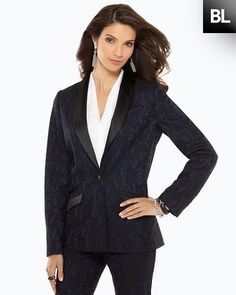 What a great evening jacket, a classic and versatile piece for your wardrobe! (Chico's Black Label Jacquard Tuxedo Blazer #chicos)