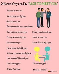 Ways to say: Nice to meet you English Learning Spoken, Learn English Grammar, English Writing Skills, English Language Learning, Learn English Words, English Lessons, English Sentences, English Phrases, Grammar And Vocabulary