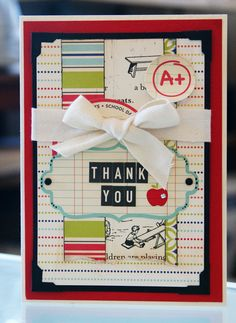 Schoolhouse & Report Card Projects: Thank You by Heather Binnie Teacher Thank You Cards, Teacher Gifts, Scrapbooking Layouts, Scrapbook Cards, October Afternoon, Cardmaking And Papercraft, Kids Zone, Staff Appreciation, Hero Arts