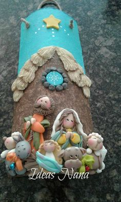 Diy Nativity, Nativity Ornaments, Clay Ornaments, Christmas Nativity, Noel Christmas, Christmas Themes, Christmas Crafts, Christmas Ornaments, Tile Crafts