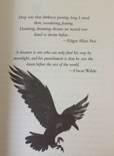 The Dream Thieves (The Raven Cycle), Maggie Stiefvater Edgar Allan Poe, Edgar Allen Poe Quotes, Edgar Allen Poe Tattoo, Raven Quotes, The Raven Poem, The Crow Quotes, Maggie Stiefvater, Literature Quotes, Linkin Park