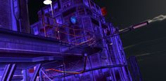 Urban Future 2  - UltraViolet Light and Glowing Shaders - Night - rendered in 3Delight in DAZ Studio 4.9