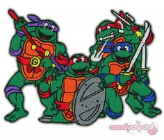 Four Embr Teenage Mutant Ninja Turtles Faces Patch Set Of 4 Iron//Sewn On Set