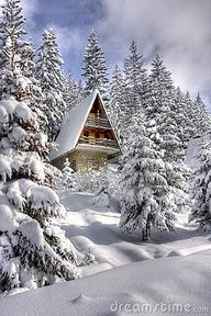 Winter ski chalet in the Alps