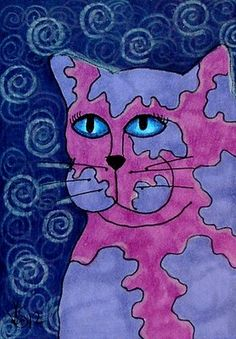 PURPLES CAT  ACEO ON EBAY