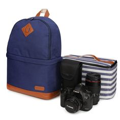 Kattee Canvas SLR DSLR Camera Backpack Laptop Backpack Photography Bag Camera Bag with Waterproof Rain Cover for Canon Nikon Blue