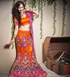 ORANGE PINK HEAVY ZARI WORK WEDDING LEHENGA  Shop Now :- http://www.shoppers99.com/bridal_saga/orange_pink_heavy_zari_work_wedding_lehenga_t-700-12