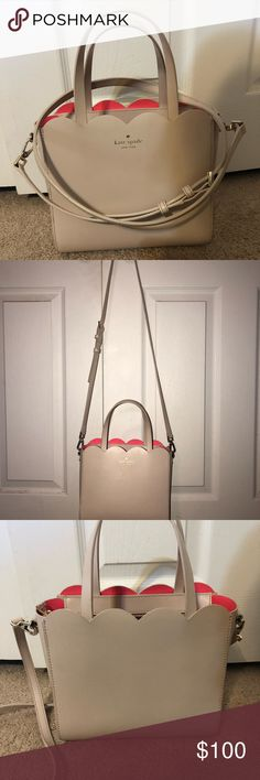"Kate Spade Lily Avenue Smooth Bennett Purse Only used for a couple months, minor signs of wear on inside and outside, but nothing major. The outside is a pale pink and the inside is a pretty bright pink.  Dimensions: 8""h x 8.6""w x 4.3""d  Feel free to make an offer :) kate spade Bags Crossbody Bags"