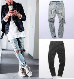 Fashion autumn stretch ripped designer brand jeans hip hop slim fit men broken demin destroy jeans blue and black swag PANTS Ripped Jeans Men, Biker Jeans, Denim Skinny Jeans, Distressed Skinny Jeans, Man Jeans, Hip Hop Jeans, Beste Jeans, Destroyed Jeans, Slim Fit