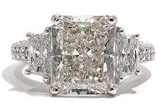 Antique Diamond Ring for Sale | ... 53 carat Radiant Cut Diamond Three Stone Antique Style Platinum Ring