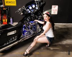 biker chick and hot bike!