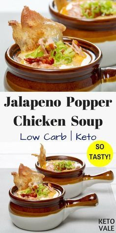 Jalapeno Popper Chicken Soup Low Carb Recipe for Keto DIet recipes easy recipes flat belly recipes lose weight meals recipes low calorie recipes vegetarian diet recipes Slow Cooker Recipes, Low Carb Recipes, Crockpot Recipes, Diet Recipes, Cooking Recipes, Healthy Recipes, Casserole Recipes, Low Carb Soups, Delicious Recipes