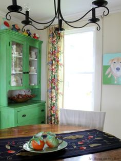 Fall Dining Room - love the green hutch!