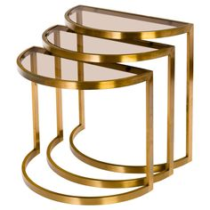 Set Of Three Metropolitan Furniture Nesting Tables / Stacking Tables - Brass American Modern Glass Marble Furniture, Cafe Furniture, Glass Furniture, Steel Furniture, Deco Furniture, Furniture Design, Dressing Table Design, Second Hand Furniture, Coffee Table Design