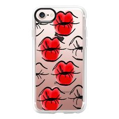 Kissing Lips - Red Lipstick - Red Lips - Watercolor - iPhone 7 Case... (£31) ❤ liked on Polyvore featuring accessories, tech accessories, iphone case, red iphone case, apple iphone case, iphone cover case, iphone cases and clear iphone case
