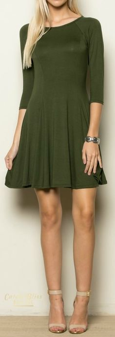 With infinite style possibilities, our Olive Flare Dress will be a go-to dress for your wardrobe! Super soft jersey knit fabric shapes and the swing style body flares to complete the look. Free shipping on orders $50 and over!