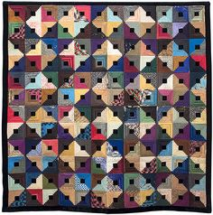 Silk and velvet Log Cabin quilt, made by Jane Susan Basinger of Savannah in 1880. Fromt the collections of the Charleston Museum.