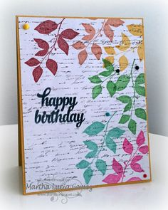 Happy Birthday with Martha Hello everyone, Martha Lucia here to share with you a Birthday card that I made using the new colors of PowderPuff Chalk Ink as the focal point. I really love this new collection, actually I love all the collections but this one has my favorites colors and I love to use these to stamp my images directly over the decorated paper.