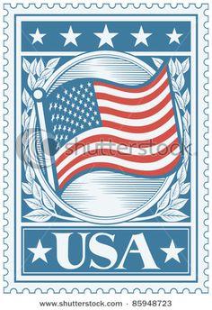 American Flag Poster (USA flag) Postage Stamp