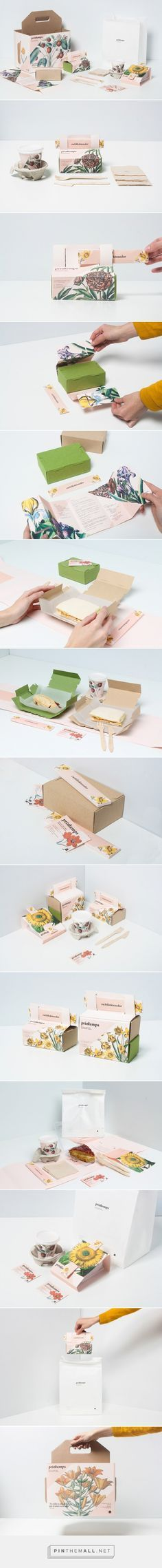 Printemps Take Away Food Packaging by Nat Tattaglia, Olaya Pintado, and Eli García Tea Packaging, Pretty Packaging, Brand Packaging, Product Packaging, Cheese Packaging, Flower Packaging, Packaging Boxes, Vintage Packaging, Beverage Packaging