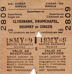1969 Clydebank, Drumchapel, Drumry or Singer Train Ticket