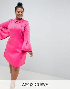 e025594800b DESIGN Curve scuba embellished a-line mini dress. Fashionable plus size ...