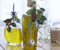 Three-Herb Olive Oil    For a stunning gift, put together a vinaigrette starter kit, including a bottle each of herb oil and Sour Cherry Vinegar, and a jar of fancy sea salt. It's an especially nice combination over pale endive leaves.