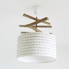 Lustre bois flotté de ganivelles - abat jour cylindre 35 cm motif cordage marin- suspension cylindrique - plafonnier rond - idée cadeau