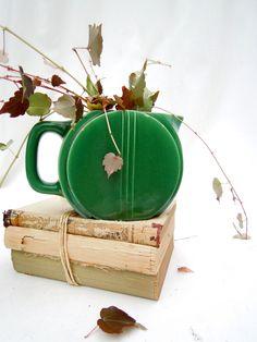 vintage art deco pitcher.green.farmhouse.disk pitcher.ceramic.tessiemay vintage by tessiemay on Etsy