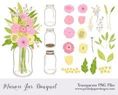 Country Heart Clip Art   Rustic Clip Art Mason jar flowers clip art: