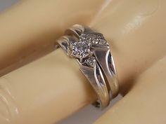 1960s Diamond Wedding Ring Set .15Ctw white by estatejewelryshop, $375.00