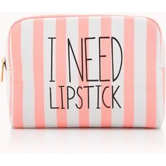 FOREVER 21 I Need Lipstick Midsize Cosmetic Bag (250 UYU) ❤ liked on Polyvore featuring beauty products, beauty accessories, bags & cases, bags, makeup, accessories, beauty, makeup bags, forever 21 and makeup bag case