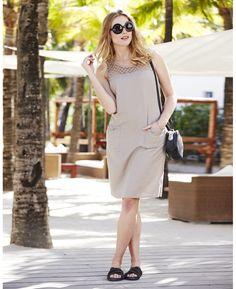Linen Mix Shift Dress at Simply Be