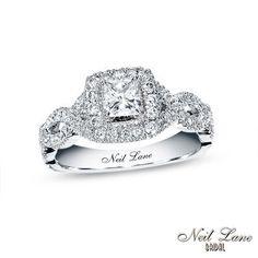 Neil Lane Bridal® Collection 1 CT. T.W. Princess-Cut Diamond Twist Shank Engagement Ring in 14K White Gold