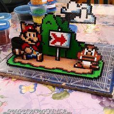 Super Mario scene perler pixel art - retro4everything