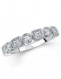 Retrò design round brilliant and princess-cut diamond half eternity style ring. Hatton Garden, Fancy Jewellery, Princess Cut Diamonds, Retro Design, Diamond Jewelry, Wedding Rings, Jewels, Engagement Rings, Holidays