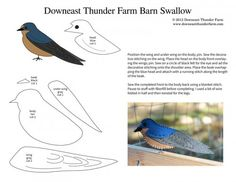 I've read that male barn swallows must always put their best foot forward or the females will move on in search of a new guy. So does that make the females fickle or simply smart to keep thos… Felt Patterns, Bird Patterns, Craft Patterns, Bird Ornaments, Felt Christmas Ornaments, Handmade Ornaments, Bird Applique, Wool Applique, Vogel Illustration