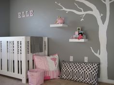 Pink Baby Nursery Wonderful And Decorate Room Affordable Furniture Contemporary Style Living Room Teenage Bedroom Idea With Inspiration Ideas Design Amusing Baby By Interior White Wooden Cradles Feat Pink Black Pillow Also Floating Shelves On The Gray Wall Tree Paint Cute Gir Baby Girls Room Ideas, Cute Baby Room Ideas: Bedroom, Furniture, Interior