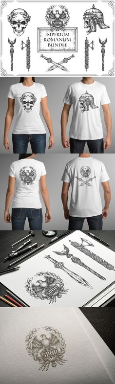 Roman Empire Skulls. The collection of Roman Empire themed illustrations. Emperor, legionary, SPQR, aquila, fasces, gladius sword. Tags: skull, print, t-shirt, apparel, tattoo, logo, artwork, illustration, clip art, graphic, design, drawing, hand drawn, vector #design #skull #tattoo #drawing #tshirt #clothing