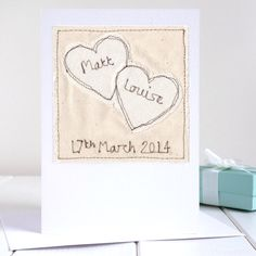 Are you interested in our Personalised wedding anniversary card? With our wedding anniversary card you need look no further. 4th Wedding Anniversary, Freehand Machine Embroidery, Fabric Cards, Calico Fabric, Ruby Wedding, Engagement Cards, Wedding Linens, Heart Cards, Personalized Wedding