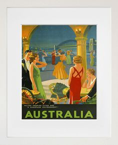 Australia Travel Art Sign Wall Decor Poster Print by Blivingstons Art Deco Posters, Vintage Travel Posters, Poster Prints, Retro Posters, Party Vintage, Vintage Art, Xr 300, Posters Australia, Photo Voyage