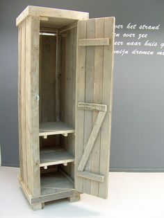 Kledingkast steigerhout 60cm breed met 2 schappen en 1 hang gedeelte ...