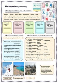 Holiday time (vocabulary) - English ESL Worksheets for distance learning and physical classrooms Vocabulary Exercises, Vocabulary Worksheets, English Vocabulary, English Grammar, Teaching English, Printable Worksheets, Summer Worksheets, English Lessons, Learn English