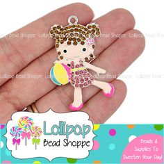 50mm Beach Ball Girl Rhinestone Pendant Summer Swim Suit Little Girl Summertime Chunky Necklace Pendants Bubblegum Beads Bubble Gum Beads