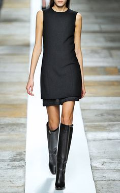 LBD over Dress with Riding Boots   Theyskens' Theory Fall/Winter 2013