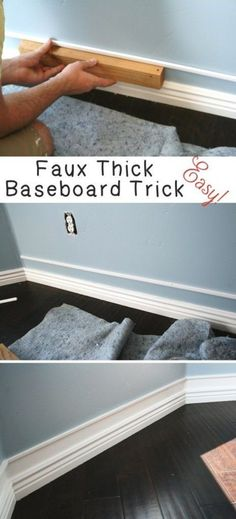 HOME || Remodel Home Improvement Hacks. - Easy Faux Thick Baseboard Trick - Remodeling Ideas and DIY Home Improvement Made Easy With the Clever, Easy Renovation Ideas. Kitchen, Bathroom, Garage. Walls, Floors, Baseboards,Tile, Ceilings, Wood and Trim. http://diyjoy.com/home-improvement-hacks
