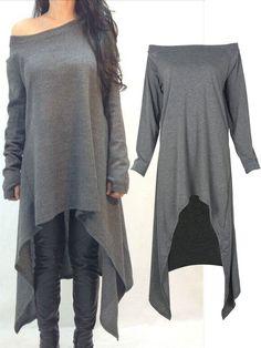 Dark Gray Off Shoulder Oversized Asymmetric Dress