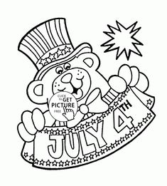 Teddy Bear And 4th Of July Coloring Page For Kids Pages Printables Free