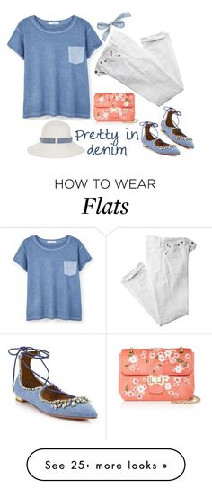 """Denim Touches"" by musicfriend1 on Polyvore featuring MANGO, Aquazzura, Polo Ralph Lauren, Monsoon, Monique Lhuillier, contest, denim and lovethis"